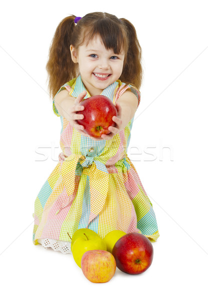 Felizmente sonriendo nina manzana aislado blanco Foto stock © pzaxe
