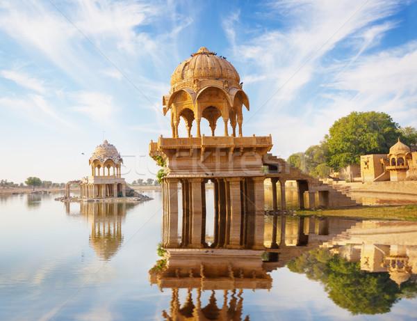 Indian tempel meer noord-india gebouw stad Stockfoto © pzaxe