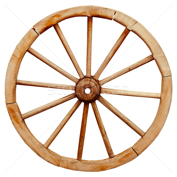 Ancient wooden grunge wagon wheel in country style isolated on w Stock photo © pzaxe