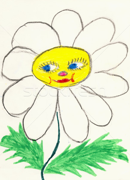 Naive drawing on paper made the child - chamomile flower with fa Stock photo © pzaxe