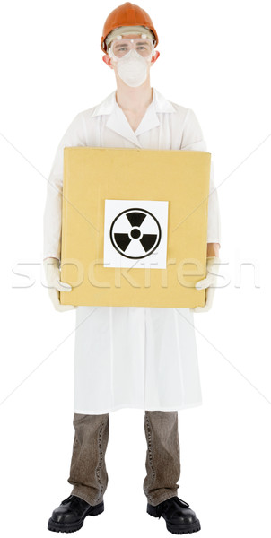 Naukowiec podpisania promieniowanie polu Zdjęcia stock © pzaxe