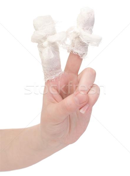 Kéz sebesült ujjak fehér orvosi Stock fotó © pzaxe