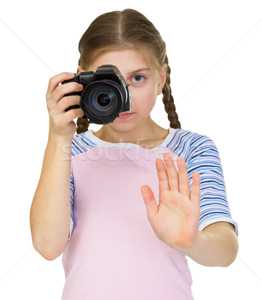 little girl with the camera Stock photo © pzaxe