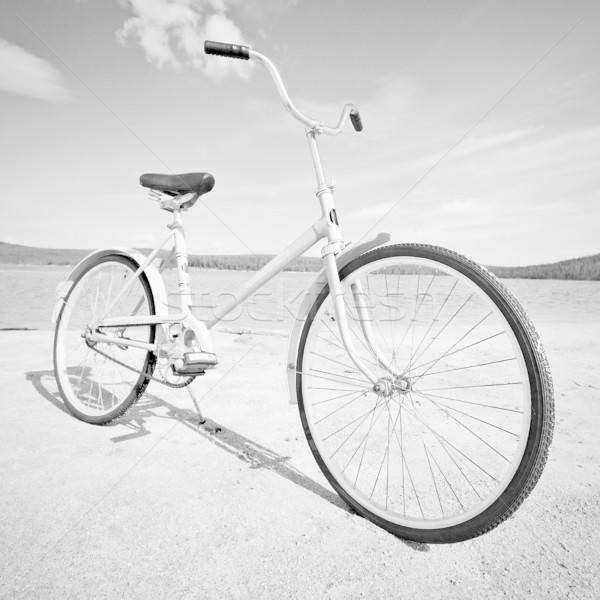 Rower monochromatyczny zdjęcie starych plaży wody Zdjęcia stock © pzaxe