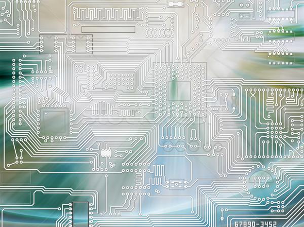 Raggi luce splendente circuito blu abstract Foto d'archivio © pzaxe