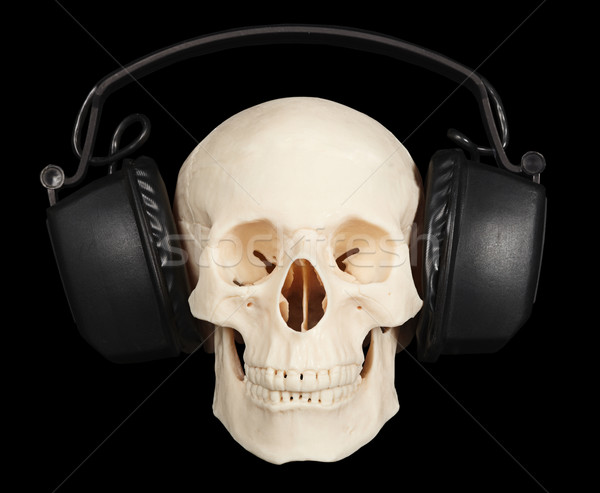 Menselijke schedel stereo hoofdtelefoon zwarte glimlach Stockfoto © pzaxe