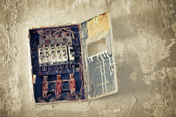 Old bad rusty switch box on wall  Stock photo © pzaxe