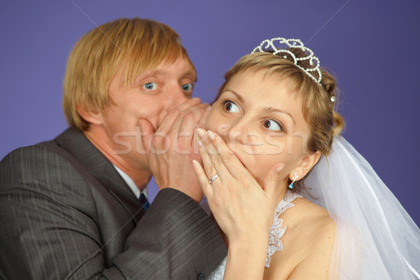Groom tells to bride confidential news Stock photo © pzaxe