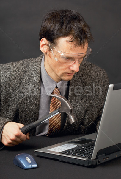 Person repairs laptop as is able Stock photo © pzaxe