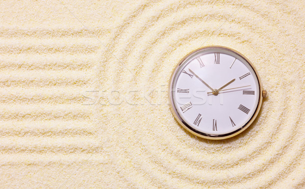 Old watch on sand in composition of Japanese rock-garden Stock photo © pzaxe