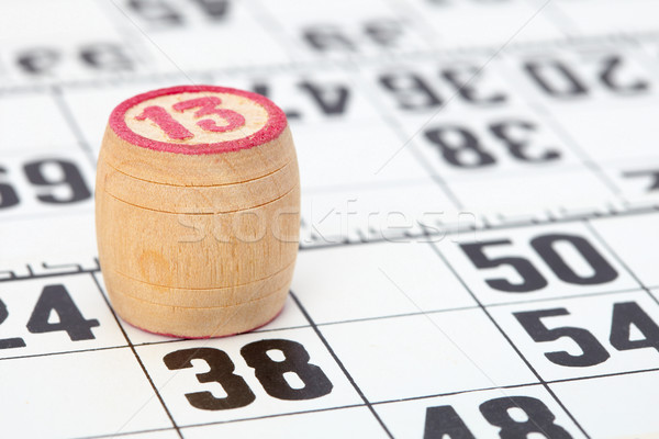 Wooden barrel lotto with number thirteen Stock photo © pzaxe
