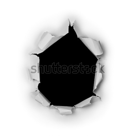 Breakthrough torn big black hole in rough paper Stock photo © pzaxe