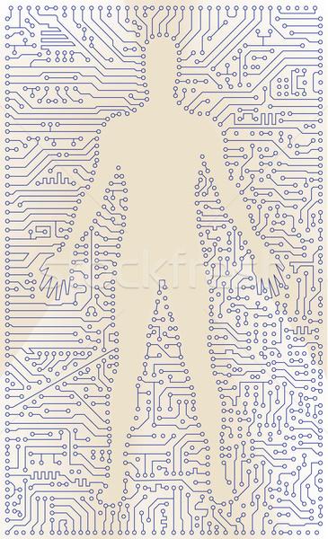 élevé tech circuit homme silhouette vecteur Photo stock © pzaxe