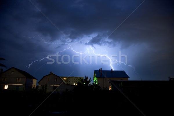 Lightning in the cloudy sky over village Stock photo © pzaxe