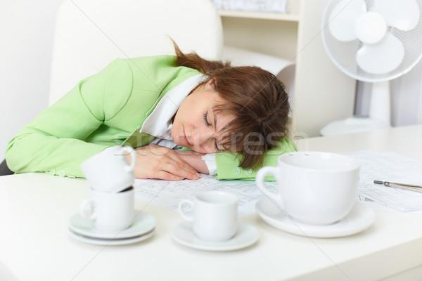 Irodai dolgozó alszik részeg kávé munka papír Stock fotó © pzaxe