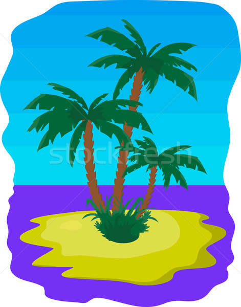 Vector illustration - tropic island with palms and sea Stock photo © pzaxe
