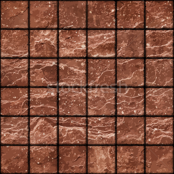 Seamless texture of dirty red stone tiles wall with spots Stock photo © pzaxe