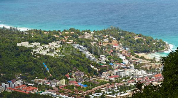 Numeroso hoteles tropicales costa superior vista Foto stock © pzaxe