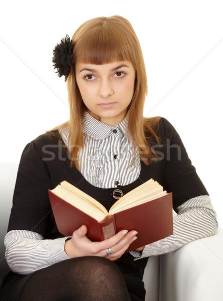 Genç kadın kitap beyaz kadın arka plan sanat Stok fotoğraf © pzaxe