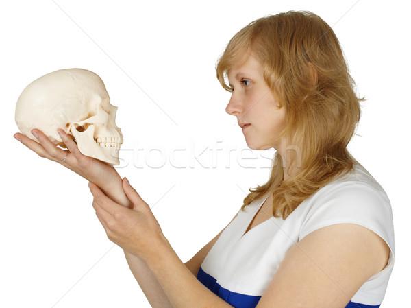 Woman examines a human skull on white Stock photo © pzaxe