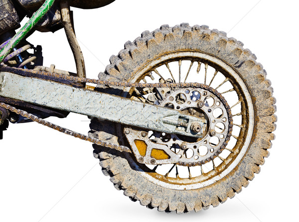 Rear wheel motorcycle for trial covered with mud Stock photo © pzaxe