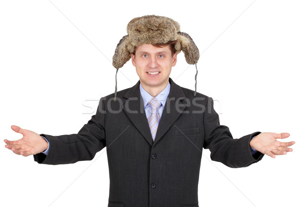 Hospitable funny man with a fur hat Stock photo © pzaxe