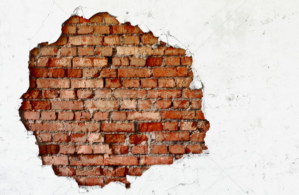 Break on the white wall - old brickwork Stock photo © pzaxe