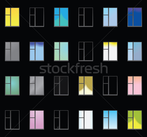 Wall with lighted windows - vector seamless texture Stock photo © pzaxe