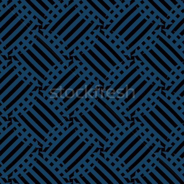 Vector seamless pattern - diagonal blue and black abstract backg Stock photo © pzaxe