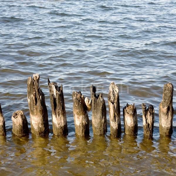Rohadt oszlopok öreg tó víz fa Stock fotó © pzaxe