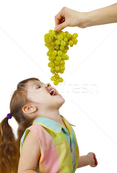 Enfant raisins parental mains blanche Photo stock © pzaxe