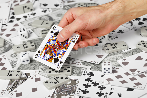 королева пики стороны деньги черный белый Сток-фото © pzaxe