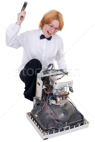 Girl repairing electronic equipment Stock photo © pzaxe
