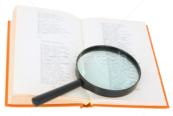 Open book and magnifier on a white background Stock photo © pzaxe