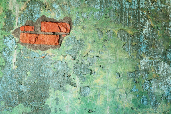 Damaged old brick wall with hole Stock photo © pzaxe