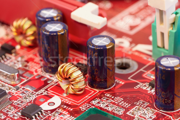 Close up of electronic components on circuit Stock photo © pzaxe