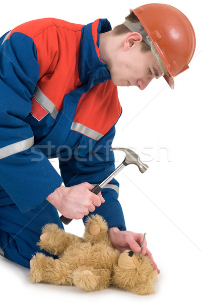 Labourer with bear and hammer Stock photo © pzaxe