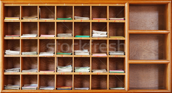 Wooden cabinet in interior of a Buddhist temple Stock photo © pzaxe