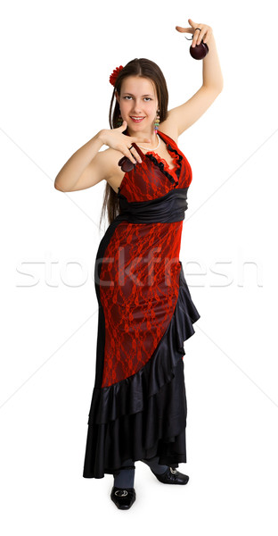 Young girl performs the Spanish dance with castanets Stock photo © pzaxe