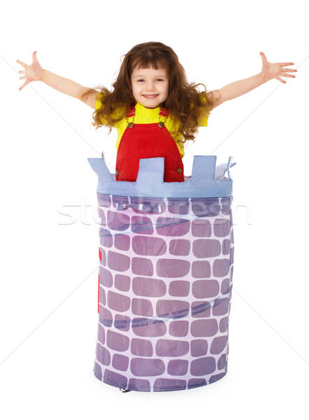 Weinig grappig meisje mand geïsoleerd witte Stockfoto © pzaxe