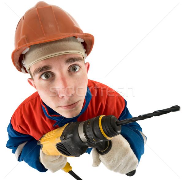 Trapano casco bianco mano uomo sfondo Foto d'archivio © pzaxe