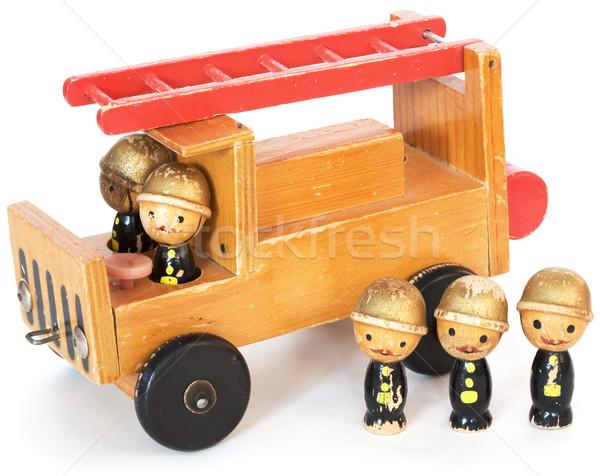 Speelgoed witte oude houten speelgoed achtergrond Rood Stockfoto © pzaxe