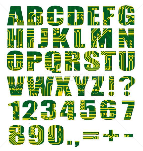 Eletrônico alfabeto cartas dígitos placa de circuito branco Foto stock © pzaxe