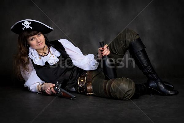 Lány kalóz pisztoly üveg fekete nő Stock fotó © pzaxe