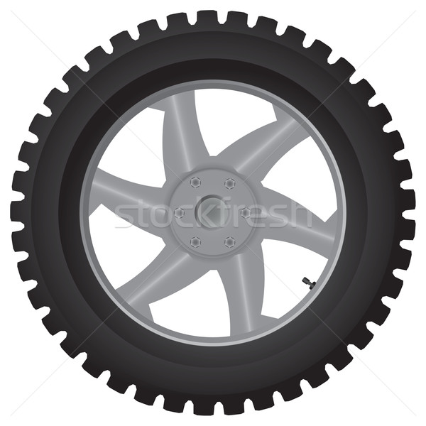 Car wheel on white - vector illustration Stock photo © pzaxe