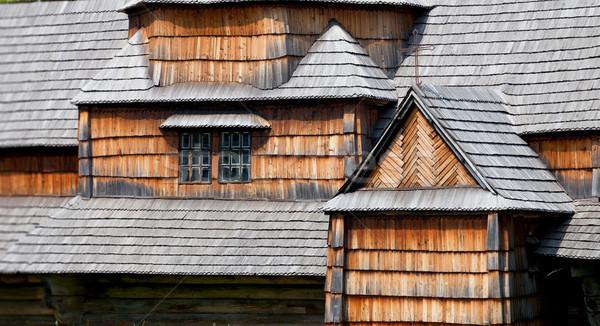 Oude houten architectuur huis gebouw Stockfoto © pzaxe