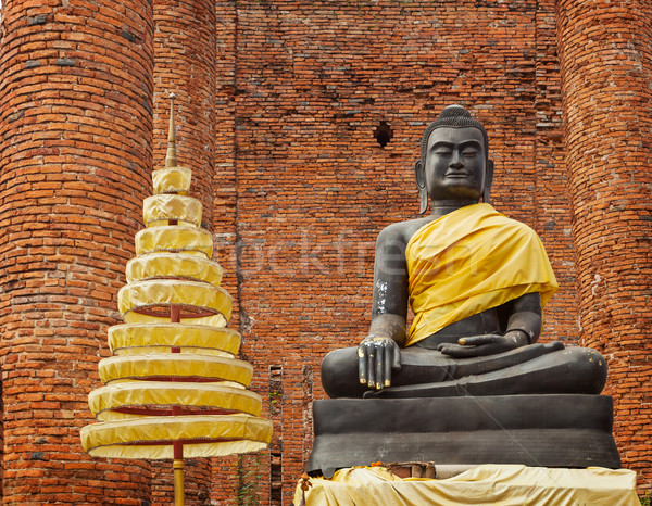 Buddha statue in ruins of the temple. Ayuthaya, Thailand Stock photo © pzaxe
