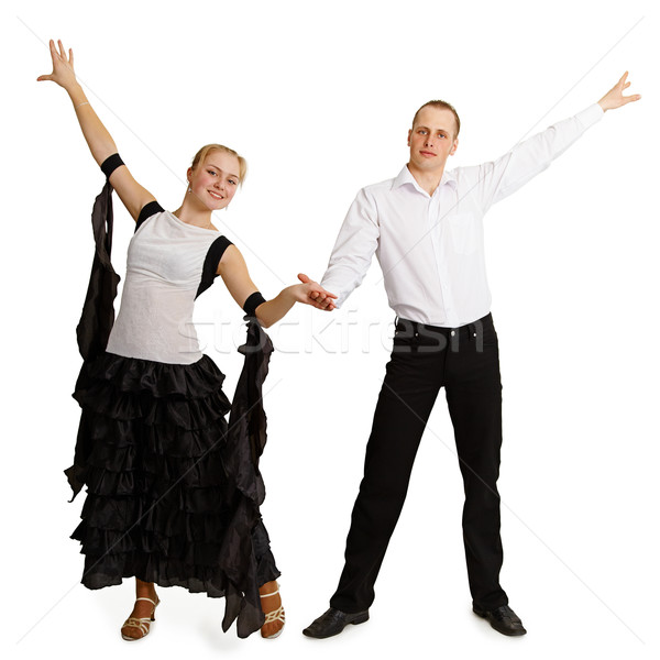 Pár profi táncosok befejezett tánc izolált Stock fotó © pzaxe