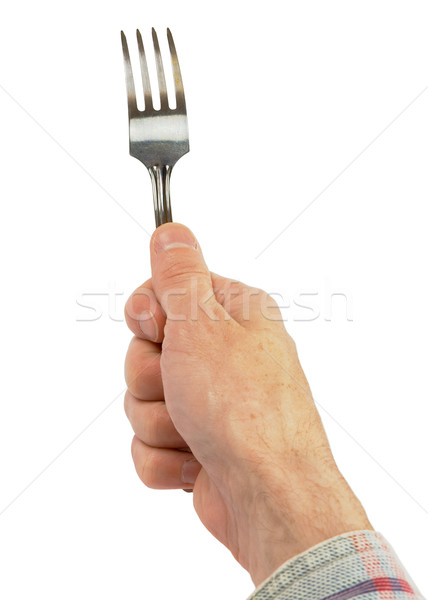 Hand holding a fork Stock photo © pzaxe