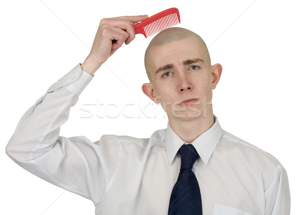 Absolutely bald guy with a hairbrush Stock photo © pzaxe